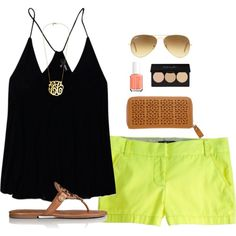 green shorts by thevirginiaprep on Polyvore featuring Tory Burch, Ray-Ban, Essie and Wilfred Free