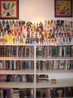 stadium shelving on bookcase for action figures display boys bedroom