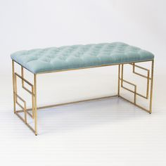 "Devin Gold Leafed Bench W. Seafoam Tufted Top NEW FOR HIGH POINT!!! Product Information Hammered Umber Finished Gold Leafed Iron Bench w. Seafoam Velvet Tufted Upholstered Top. 22""h x 40""w x 18""d stock #: Devin GSF"
