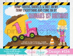 Pink Dump Truck, Construction Worker, Girl:134-Children's Birthday Invitation, Personalized, Digital, Printable, JPEG by PinkHippoPartyShop on Etsy https://www.etsy.com/listing/469863752/pink-dump-truck-construction-worker