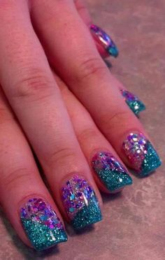 Acrylic nails by jade @ glimmer nail studio, casper, wy nails in 2019 ногти, Stylish Nails, Trendy Nails, Nail Designs Spring, Nail Art Designs, Nail Manicure, Toe Nails, Dipped Nails, Chunky Glitter Nails, Mermaid Nails