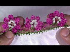 İnci boncuk'lu Çiçekli tığ oyası yapımı - YouTube