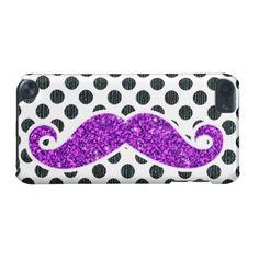 Mustache sparkley i Pod caces | PURPLE GLITTER MUSTACHE POLKA DOTS iPod TOUCH (5TH GENERATION) CASES