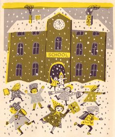 """""""Old Man Winter Comes toTown"""" (by hilde hoffmann), by beatrice braun-fock, 1959."""