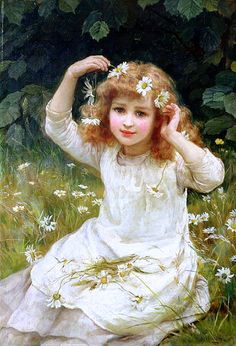 Marguerites [little daisy-like flower] -- Frederick Morgan (1847 – 1927, English)