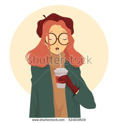 Red-haired girl in the maroon beret and big round glasses drinking coffee. She is dressed in a beige sweater and a green coat. Vector illustration