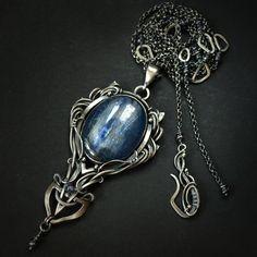 Necklace | Bartosz Ciba ~ AmarenoStyle. 'Ciarra'.  Silver, cyanite, iolite
