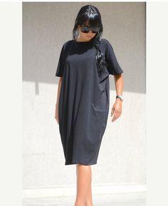 Black Dress / Asymmetric black dress /  plus size DRESS /