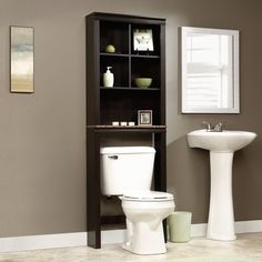This Over Toilet Bathroom Storage Cabinet Shelves Cubby Etagere would be a great addition to your home. It has a cinnamon cherry finish and is made in the USA. - Over Toilet Bathroom Storage Cabinet S Bathroom Cabinets Over Toilet, Over The Toilet Cabinet, Over Toilet Storage, Toilet Shelves, Bath Cabinets, Brown Bathroom, Wooden Bathroom, Toilet Vanity, Shower Shelves