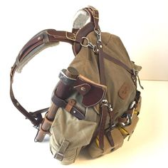 Bushcraft Rucksack, Bergen, Backpack, Bugoutbag, Hunting, Survival, Mountaineering Gear. Another view of my Gillie'd ruck. This is the most comfortable pack I have ever worn... and I wear it a lot. - by Gillie Leather #SurvivalistFashion