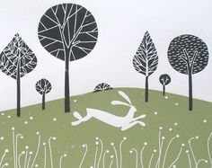 White Hare - LARGE Rare Artist Proof Linocut - Green Meadow - White Rabbit, Magical Landscape / Treescape by Giuliana Lazzerini