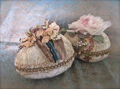 Velvet Easter Egg Centerpiece Vintage Needlework by LadidaHandbags