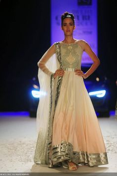 Silver and cream anarkali by Varun Bahl at Delhi Couture Week 2013