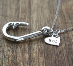 Initials Fish Hook Necklace