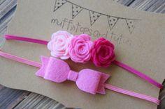 Felt headband set - newborn/baby/toddler headband - pink flower headband - photo prop - bow headband