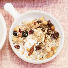 This easy granola recipes uses quick-cooking oats, mixed nuts, mixed seeds and shredded coconut. Serve with low-fat milk or yogurt for a quick breakfast or a snack. | Health.com