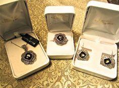 Nicolette 24k Gold & Sterling Silver Amber Gemstone Ring Earrings Necklace Set #NICOLETTE