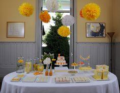 Yellow and orange dessert table