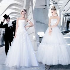 Full a-line silhouette with these tulle skirts on wedding gowns designed by Max Chaoul