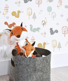Baby wallpaper room rugs Ideas for 2019 Baby Wallpaper, Kids Room Wallpaper, Wood Wallpaper, Forest Wallpaper, Animal Wallpaper, Baby Bedroom, Baby Boy Rooms, Kids Bedroom, Casa Kids