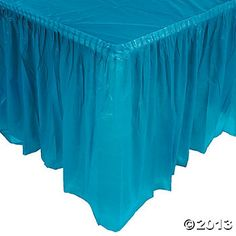 Turquoise or yellow Pleated Table Skirt $6.25 Maybe for the soda stand, the gift table??? Round one for the cake table???