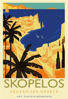 Vintage Travel Poster - Skopelos Island - Aegean Sea - Greece - by David McMacken.