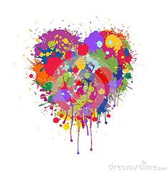 Grunge Vector abstract heart with colorful splashes and paint drips on white background . Graffiti heart . Valentine`s heart . Explosion of feelings . Gift card Happy Valentine`s Day .