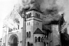 The synagogue of Baden-Baden in flames, November 10, 1938. Yad Vashem Photo Archives 213BO5