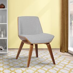 Armen Living Agi Mid-century Walnut Wood and Dining Chair