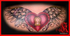 Heart, Keyhole, and Wings Tattoo