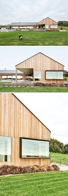 This Rural Home Combines Rustic Interior Elements With Modern Architecture This modern ranch-inspired house has plenty of windows, including one that has a frame that protrudes out from the wood siding. Australian Architecture, Modern Architecture House, Modern House Design, Interior Architecture, Interior Modern, Barn House Design, Home Interior, Landscape Architecture, Wood Siding