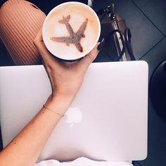 art, coffee, coffee art, cute, drinks, flight, photography, plane, First Set on Favim.com