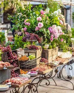 When it comes to Grazing Tables our stylists know exactly how to make the biggest impact! The team love to layer fresh produce and florals… The Grounds Of Alexandria, Appetizers Table, Catering Display, Catering Ideas, Catering Trays, Outdoor Catering, Vintage Props, Cafe Furniture, Grazing Tables