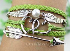 Ancient silver Wing Peach heart Arrow Bracelet by ontheway2013, $5.99