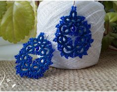 tatting lace earrings Victorian Red by JaneNakatani on Etsy