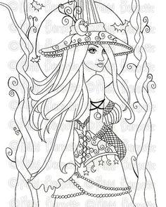 Digital Stamp Printable Coloring Page Fantasy Art by aurella27