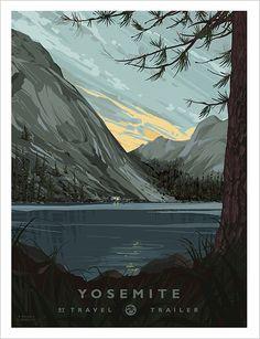 Tenaya Lake, Yosemite National Park, poster by bredlo Yosemite National Park, National Parks, Vintage National Park Posters, California Camping, Yosemite California, Vintage Travel Posters, Retro Posters, Poster Prints, Pictures