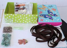 This is the box of goodies I received from my partner Arlene Dean. First there is the beautiful box, then a bunch of rich brown ribbon, some nice complimentary beads, and the lovely fishy focal piece de resistance! Dean, Goodies, Ribbon, Soup, Gift Wrapping, Nice, Brown, Party, Beautiful