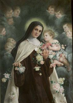 Saint Therese and Baby Jesus Religious Images, Religious Icons, Religious Art, Sainte Therese De Lisieux, Ste Therese, Catholic Art, Catholic Saints, Santa Teresa, Blessed Mother