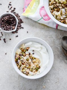 Toasted pistachios and dried pineapple give muesli plenty of tropical flavor. Serve it with a thick plain Greek yogurt. Recipe from @howsweeteats
