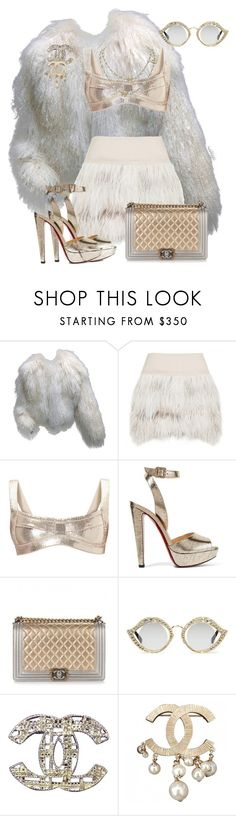 """Untitled #1240"" by styledbyjovonxo ❤ liked on Polyvore featuring Neiman Marcus, By Malene Birger, Hervé Léger, Christian Louboutin, Chanel and Gucci"