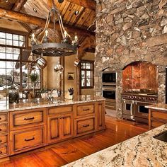 Kitchen appliances are built right into the stone.