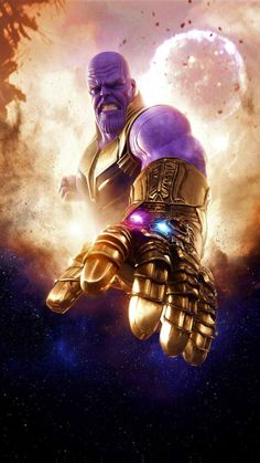 Thanos, clouds, Avengers: infinity war, villain, artwork, 720x1280 wallpaper