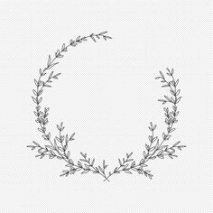 Embroidery Flowers Pattern, Embroidery Patterns Free, Embroidery Art, Laurel Tattoo, Laurel Wreath Tattoo, Flower Svg, Flower Circle, Flower Frame, Circle Monogram