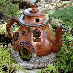 Miniature Garden Teapot Cottage - any kind if teapot would look adorable, just add detailing appropriate to the colors and design of the pot