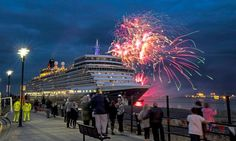 Watch the display stun crowds as the cruise ship leaves Liverpool