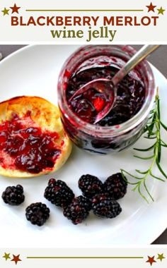 A great hostess gift for the Holidays. Blackberries and merlot wine come together for a delicious jelly recipe. Jelly Recipes, Jam Recipes, Canning Recipes, Holiday Recipes, Holiday Appetizers, Holiday Treats, Christmas Recipes, Bread Recipes, Wine Jelly