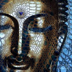 Buddha Digital Art - Web Of Dharma - Modern Blue Buddha Art by Christopher Beikmann