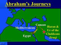 Map showing Abraham's Journey from Ur to Canaan.