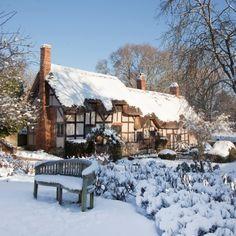 Anne Hathaway's Cottage in snow, Warwickshire, England